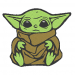Anime Embroidery Baby Yoda Sits
