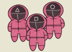 Embroidery Pattern Squidgame Soldier Chibi